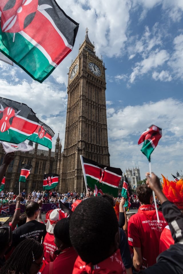Kenyan Marathon Flags and Big Ben London 2012 Olympics 0383