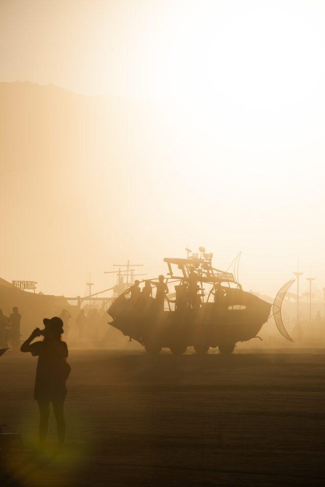 Fish Art Car at Sunset Burning Man 2012 100