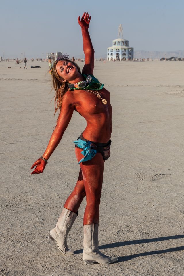 Red Sparkle Girl Burning Man 2012 204
