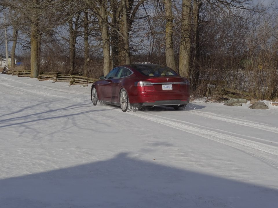 The Tesla Model S in the Snow