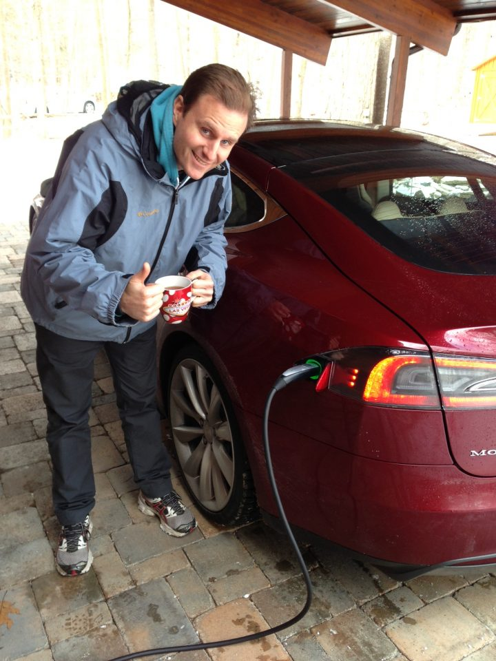 waiting for a tesla to charge in the cold