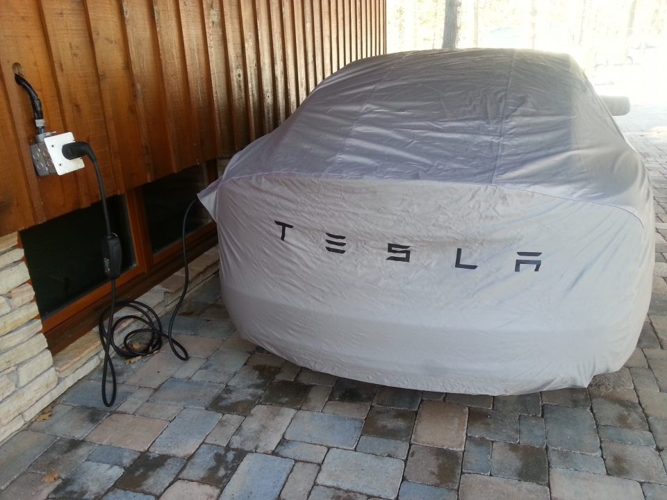 Tesla Model S with cover