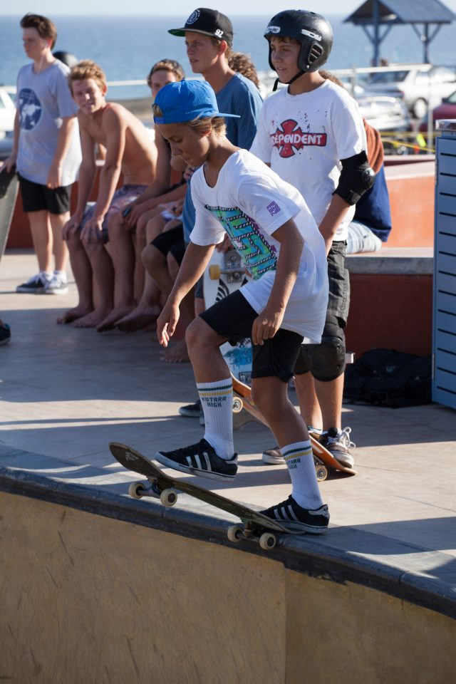 Young Skater Dropping In Merewether Australia