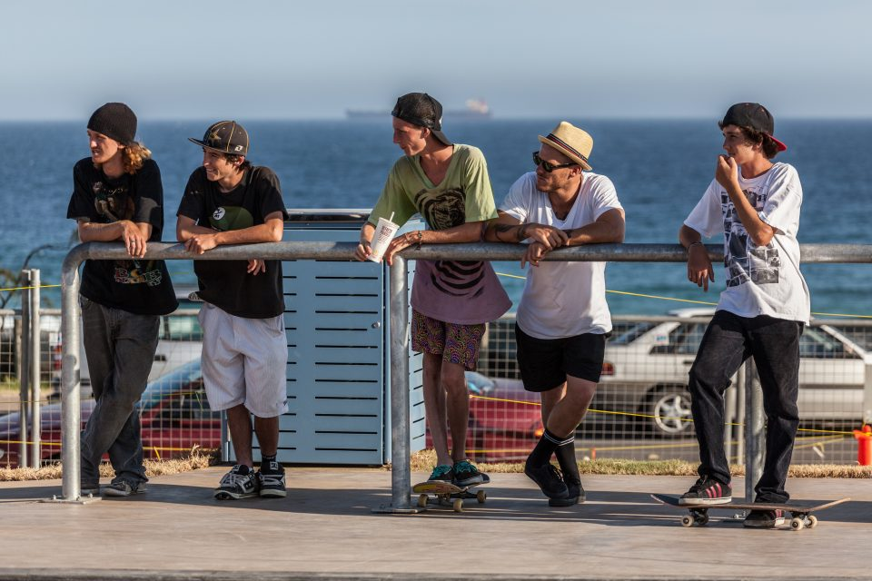 Young Men Watch Skaters Merewether Australia