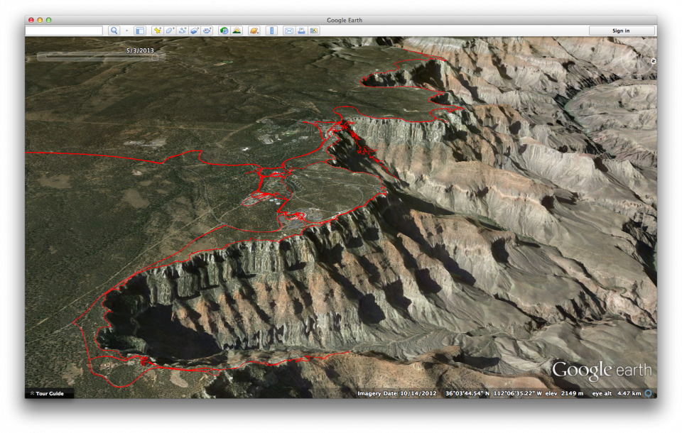 Our GPS Track From The Grand Canyon 2013