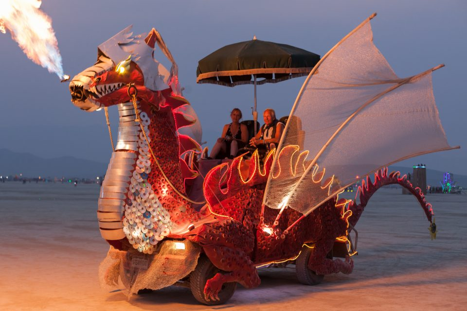 Red Dragon Art Car named Spike by Charlie and Gail Holthausen Burning Man 2013