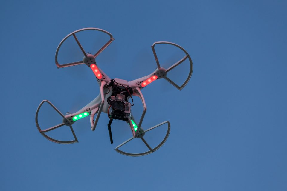Quadcopter Drone With LED Lights And A Go Pro Burning Man 2013