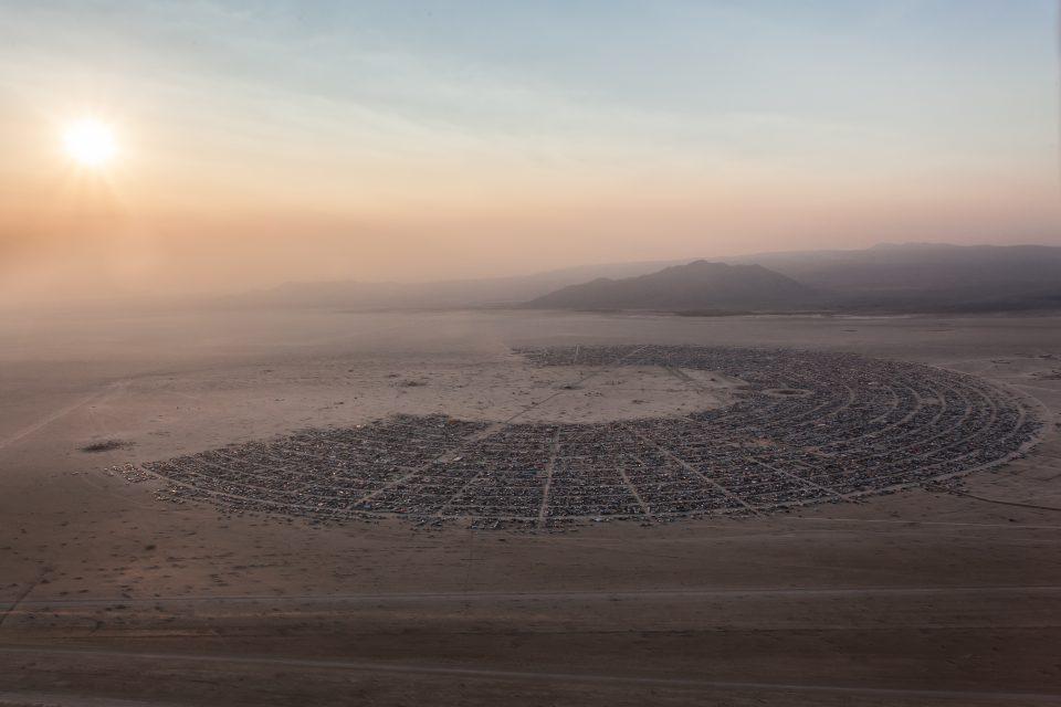 Aerial Photo Of Black Rock City At Sunrise - Burning Man 2013