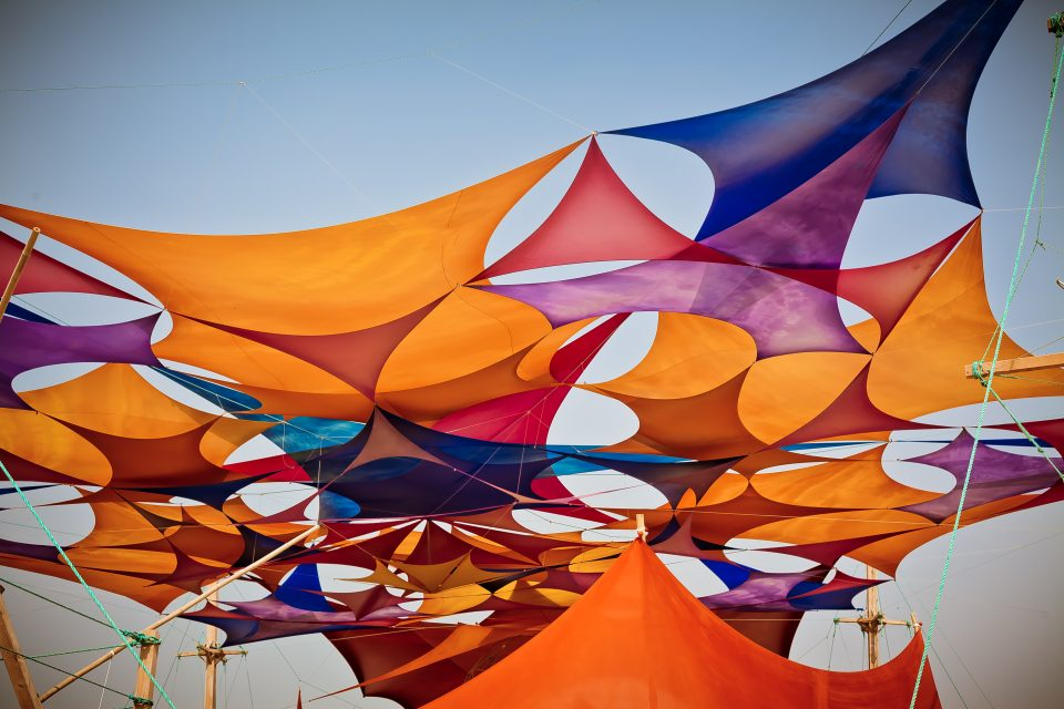 Colourful Tarps On The Esplanade At Sacred Spaces Burning Man 2013