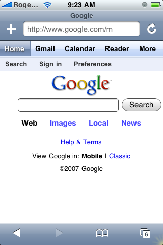 Google Mobile Screenshot
