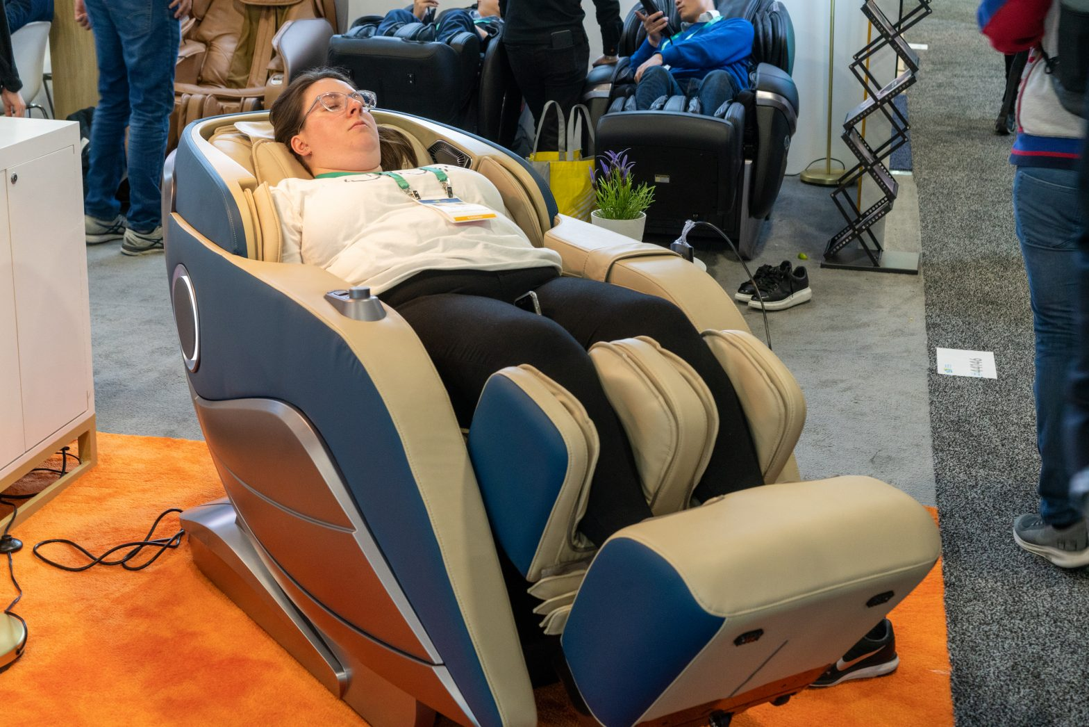 woman sleeping in massage chair