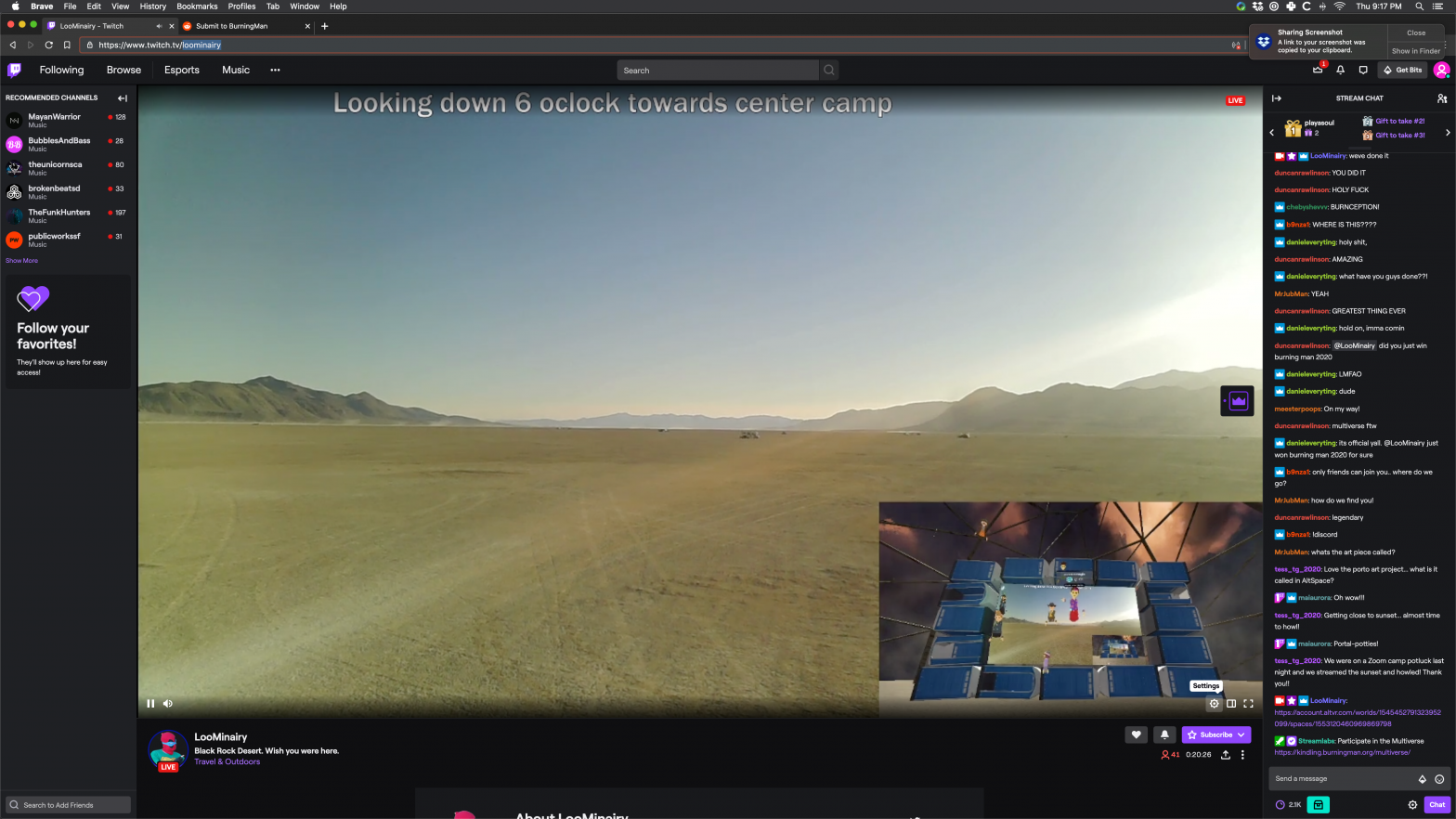 Burnception Live Streaming From The Playa in BRCvr